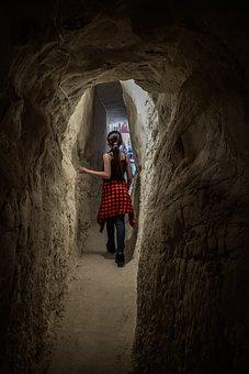 Girl, Child, Tunnel, Dark, Cave, Shadow, Light