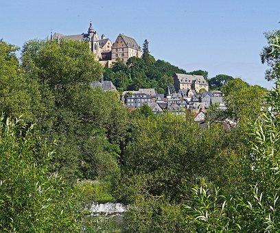 Lahn At Marburg, Castle Hill, Castle, Upper Town, Truss