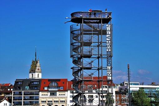 Platform, View, Stairs, Sky, Friedrichshafen, Houses
