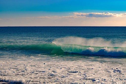 Water, Sea, Wave, Nature, Sky, Clouds, Spray, Foam