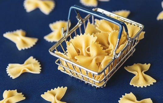 Food, Pasta, Background, Basket, Blue, Carbohydrate