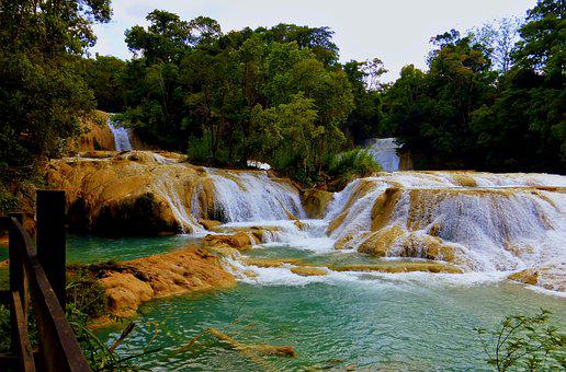 Mexico, Cascade, Aqua Azul, Body Of Water, Nature