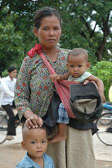 Mother And Children, Siem Reap, Cambodia, Travel, Asian