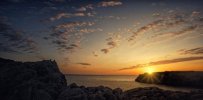 Sea, Coast, Sunset, Rocky Coast, Mood, Evening Sky