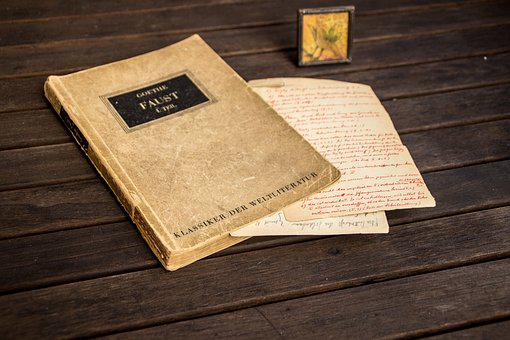 Faust, Book, German, Letter, Old, Table, Wood