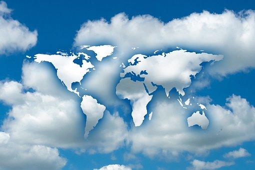Globe, Clouds, Sky, Background, Earth, World