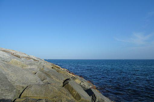 Sea, Rock, Horizon