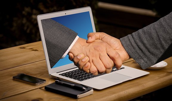 Handshake, Hands, Laptop, Monitor, Online, Digital