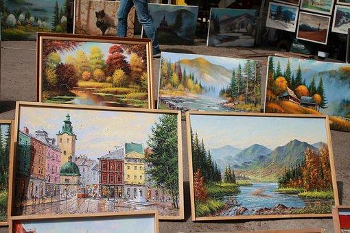 Vernissage, Gallery, Market, Pictures, Ukraine, Lviv