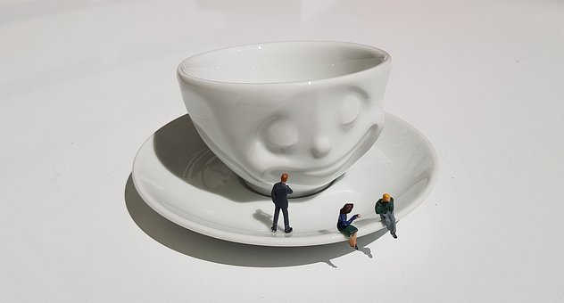 Espresso, Cup, Miniature Figures, White, Coffee Break
