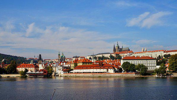 Panorama, Prague, Czechia, Cityscape, Castle, Water