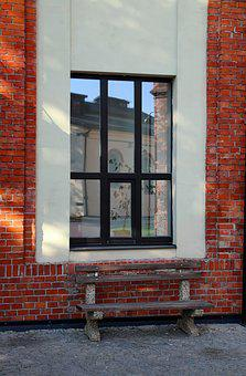 Window, Building, Bench, Reflection
