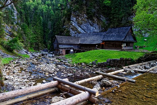 Mill, River, Creek, Nature, Wooden, Forest, Rocks