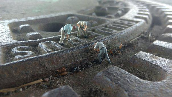 Road Construction, Gulli, Miniature Figures, Repair