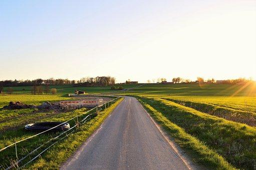 Road, Osudden, Värnamo, Sweden, Field, Go, Sunset