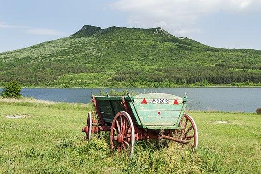 Wagon, Wooden, Wheels, Meadow, Lake, Mountain, Green