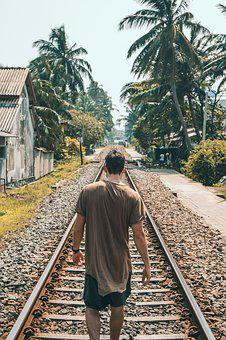 Man, Male, Walking, Tracks, Railroad, Tropics, Tropical