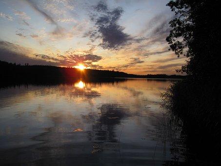 Sunset, Aurora, Reflection, Water Bodies