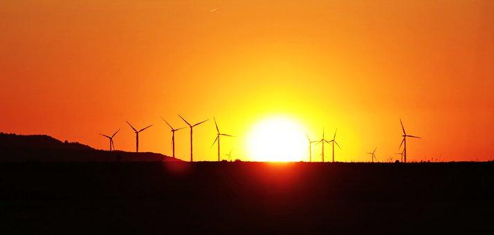 Sunset, Windräder, Environmental Technology, Wind Power