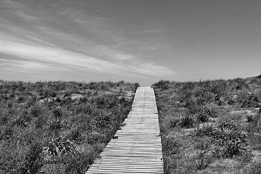 Boardwalk, Away, Horizon, Beach, Black And White, Sw