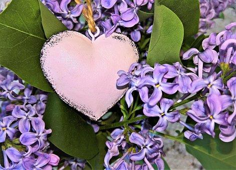 Bouquet, Lilac Bouquet, With Heart, Decoration