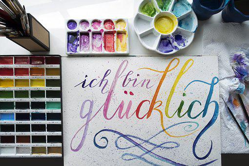 Watercolour, Brush Lette Ring, Painting, Brushstroke