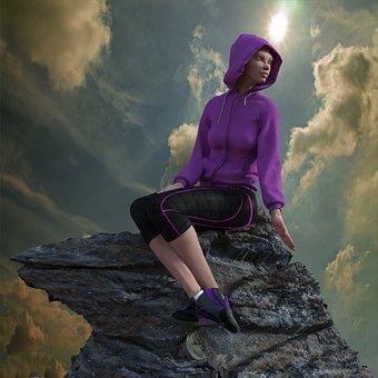 Mountain, Rock, Woman, Sun, Clouds, Climb, Sunbeam