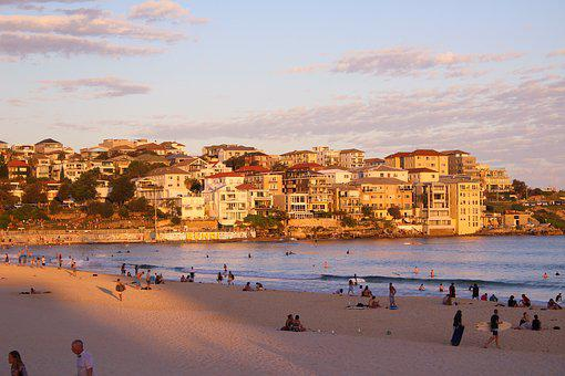 Australia, Sydney, Homes, Sunset, Sea, Clouds, Human