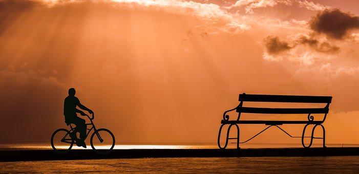 Bike, Bicycle, Waterfront, Boardwalk, Sunset, Cycle