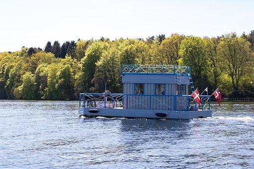 Houseboat, Lake, Silkeborg, Water, Denmark, Sailing
