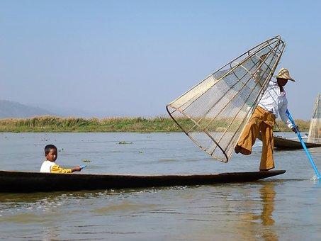 Lake Inle, Burma, Fisherman, Boat, Dawn, Boats