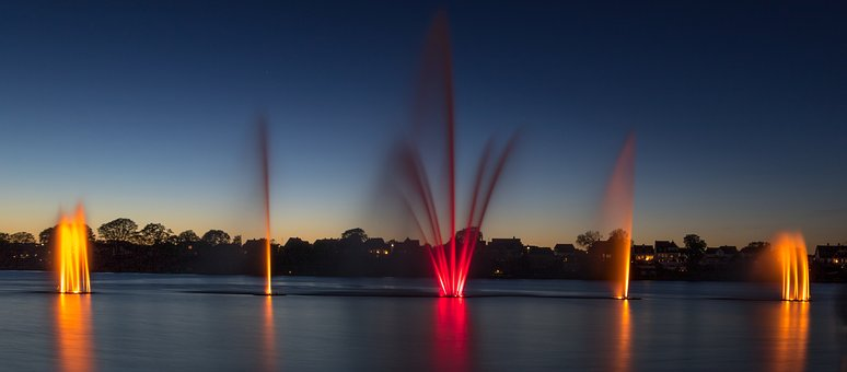 Fountain, Silkeborg, Water, Red