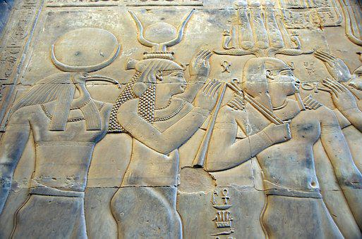 Egypt, Kom-ombo, Temple, Engraving, Gods, Divinities