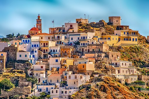 Greece, Village, Karpathos, Hill, Architecture, City