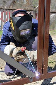 Welder, Fire, Man, The Electrode, Welding Machine, Heat