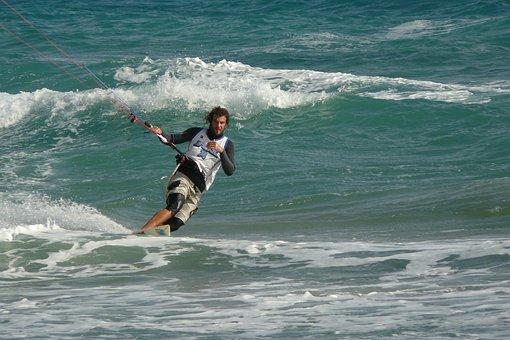 Golden Beach, Kite Boarding, Sport, Water, Ocean, Surf