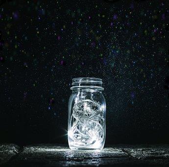 Jar, Lights, Fireflies, Magic, Night