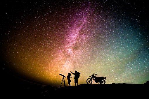 Skywatch, Couple, Love, Motorcycle, Aurora, Sky, Girl