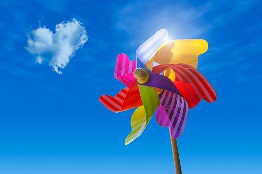Pinwheel, Sky, Clouds, Sun, Wind, Blue, Toys, Heart