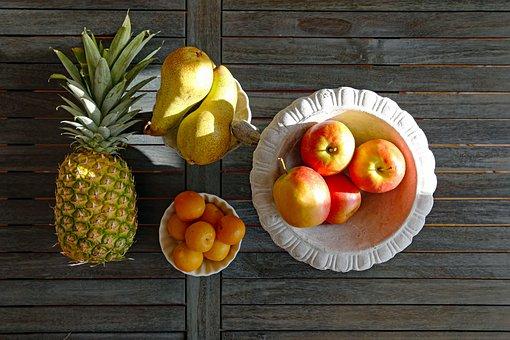 Fruit, Still Life, Pineapple, Plum, Plums, Pear, Pears
