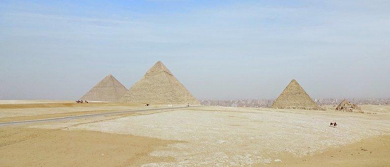Egypt, Giza, Desert, Pyramids, Pollution, Panorama