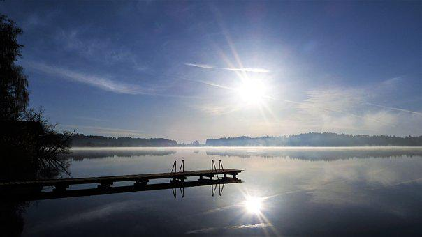 Web, Twilight, Lake, Sun, Sunbeam, Fog, Rest, Water