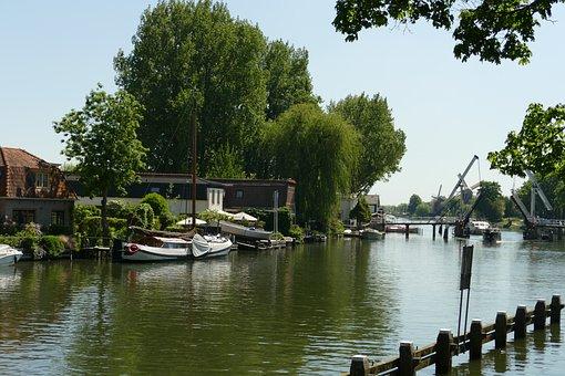 River, Fight, Weesp, Netherlands, Bridge, Boat