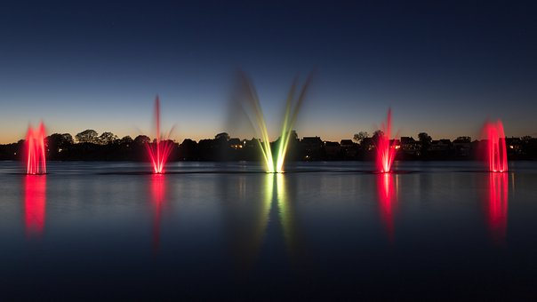Fountain, Colors, Silkeborg, Water