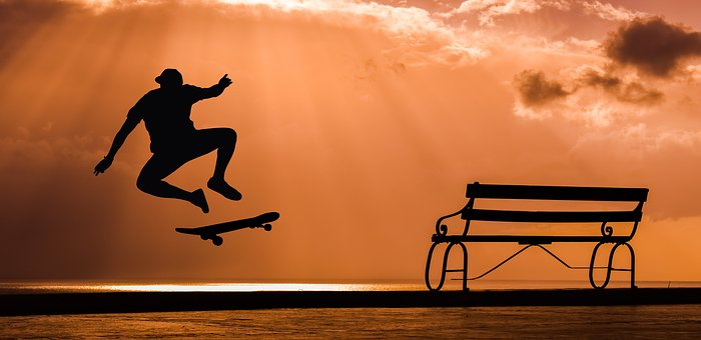 Skate, Board, Skateboard, Skateboarder, Jump, Sunset