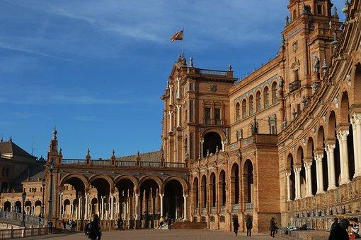 Spain, Seville, Sevilla, Spain Square, Square, Espana