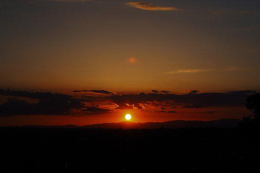 Sunset, Madrid, Viewpoint, Clouds, Sun, Silhouette