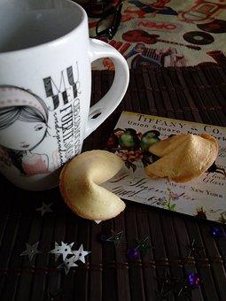 Cup, Coffee, Cookies, Fortune, Tea, Breakfast, Drink