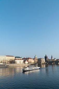 Prague, River, Vltava, Republic, Czech, Ferry, Sky