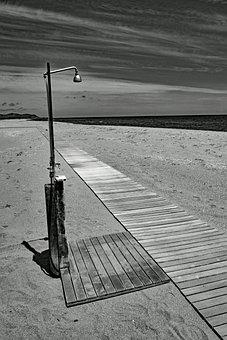 Shower, Beach, Wooden Track, Shower Head